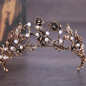Bronze Crystal Pearl Bead Tiara headband Crown